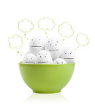 Happy painted eggs in a bowl Royalty Free Stock Photos