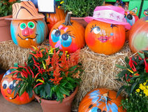 Happy Painted Pumpkin Faces Seasonal Display Stock Image