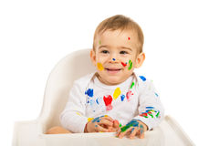 Happy painter baby Stock Photography