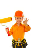 Happy painter kid boy show okay Stock Photo