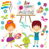 Happy painting. Happy little painters; girl and boy painting Royalty Free Stock Photo