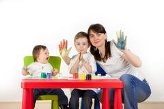Happy painting family Royalty Free Stock Photo