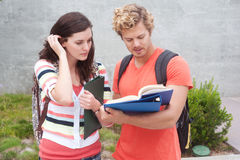 Happy pair of college students Royalty Free Stock Image