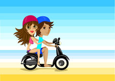 Happy pair on motorbike Royalty Free Stock Photography