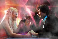 Happy pair on restaurant Stock Photography