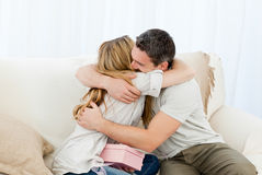 Happy pairs hugging Royalty Free Stock Image