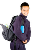 Happy pakistan schoolboy is going to school Royalty Free Stock Photography
