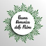 Happy Palm Sunday hand drawn phrase in Italian language. Modern calligraphy. Buona Domenica delle Palme. Happy Palm Sunday. Translation from in Italian: Happy royalty free illustration