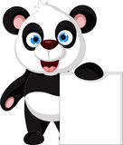 Happy panda cartoon with blank sign Royalty Free Stock Images