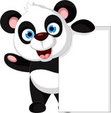 Happy panda cartoon with blank sign Stock Photo