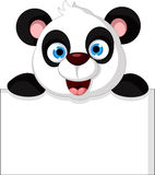 Happy panda cartoon with blank sign Stock Photography