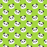 Happy Panda Faces Seamless Pattern. Vector Illustration of Cute Smiling Animal Heads Stock Photo