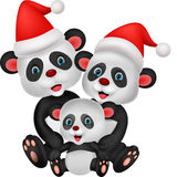 Happy panda family wearing red hat Royalty Free Stock Photo