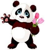 Happy Panda. Illustration of Panda holding bouquet of tulips Royalty Free Stock Photo