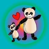 Happy pandas background. Royalty Free Stock Image