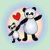Happy pandas background. Royalty Free Stock Photography