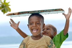 Happy Papua Kids 06 Royalty Free Stock Images