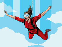 Happy parachuting girl Stock Images