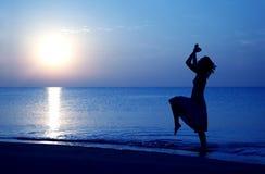 Happy at paradise beach stock photography