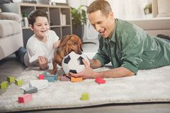 Happy parent and boy having fun with puppy royalty free stock images