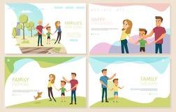 Happy Parenthood and Childhood Vector Websites Set vector illustration