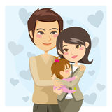 Happy Parents. Young adult couple tenderly embracing daughter with love stock illustration