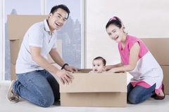 Happy parents and child play with box Royalty Free Stock Photo