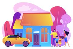 Family house concept vector illustration. Happy parents with children and detached house. Single-family detached home, family house, detached residence and royalty free illustration