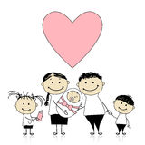 Happy parents with children, newborn baby in hands royalty free illustration
