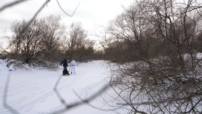 Happy parents of children ride on a sled. Joyful family resting on the natural rink. The gloomy winter day. Slow motion. stock video footage