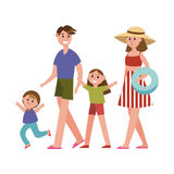 Happy parents with kids on summer vacations cartoon characters, beach holidays vector Illustration. Isolated on a white background Stock Photography