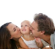 Happy parents kissing baby Stock Image