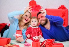 Happy parents. Life can not be better. Family celebrate anniversary. Couple in love and baby daughter. Valentines day. Concept. Together on valentines day stock photography