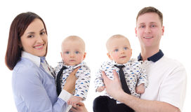 Happy parents with little twins isolated on white Royalty Free Stock Image