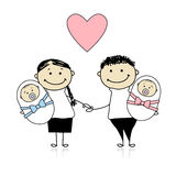 Happy parents with newborn twins Royalty Free Stock Photo