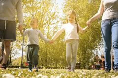 Happy parents playing with their children in the meadow. Happy f royalty free stock images