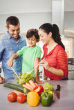 Happy parents and son preparing salad Royalty Free Stock Image