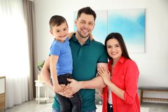Happy parents and their son. Family weekend stock photography