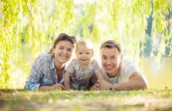 Happy parents with toddler boy Stock Photo