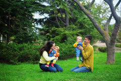 Happy parents with twins Royalty Free Stock Photos