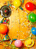 Happy party background. Colrful party background with streamers, ballons, hats, confetti and horns stock photo