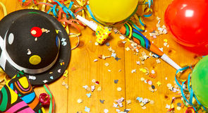 Happy party background. Colrful party background with streamers, ballons, hats, confetti and horns stock photos
