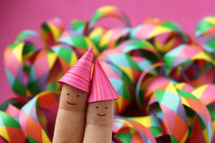 Happy party couple - funny finger people Royalty Free Stock Photo