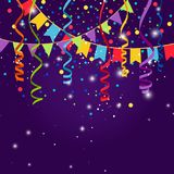 Happy party or festive blue background. With flag garlands. Triangular flags, bunting confetti and paper serpentine strings for jubilee celebration. Vector Royalty Free Stock Photos