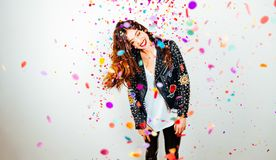 Happy party woman with confetti Stock Photos