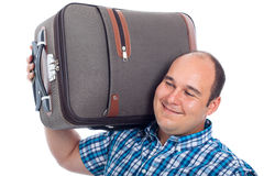 Happy passenger man with luggage Stock Images