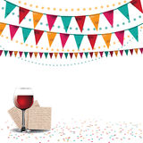 Happy Passover background traditional matzoh and wine Royalty Free Stock Photography