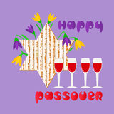 Happy Passover card. Happy Passover. Fancy hand drawn letters greeting. Matzah for spring Pesach holiday celebration. Seder wine, David star traditional symbol Royalty Free Stock Photos