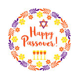 Happy Passover card. Happy Passover. Fancy letters text. Floral frame border for spring Pesach holiday celebration. Seder wine, David star traditional symbol Stock Photography