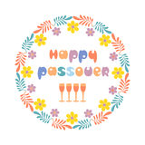 Happy Passover card. Happy Passover text. Fancy freehand drawn letters. Floral frame border spring Pesach holiday celebration. Seder wine traditional symbol Stock Images